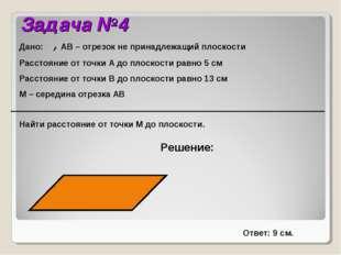 Задача №4 Решение: Дано:α, АВ – отрезок не принадлежащий плоскости Расстояние