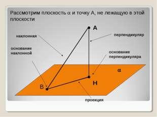 А  Н перпендикуляр основание перпендикуляра Рассмотрим плоскость  и точку А