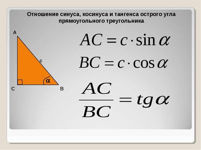 Отношение синуса, косинуса и тангенса острого угла прямоугольного треугольник...