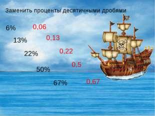 Заменить проценты десятичными дробями 6% 13% 22% 50% 67% 0,06 0,13 0,22 0,5 0