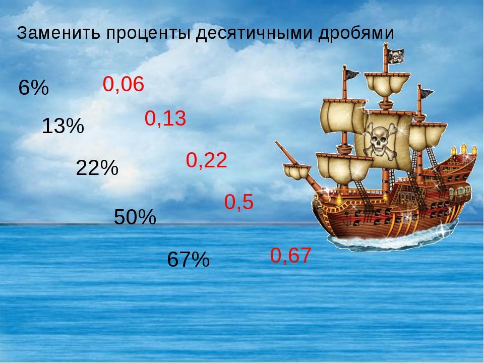 Заменить проценты десятичными дробями 6% 13% 22% 50% 67% 0,06 0,13 0,22 0,5 0...