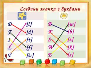 Соедини значки с буквами * *  D[l] F[d] I[t] L[f] T[i:]  B[w] K[b] S