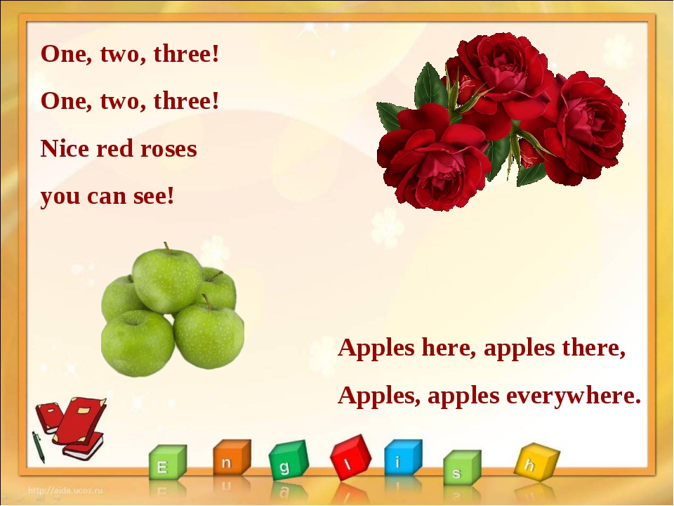 One, two, three! One, two, three! Nice red roses you can see! Apples here, ap...