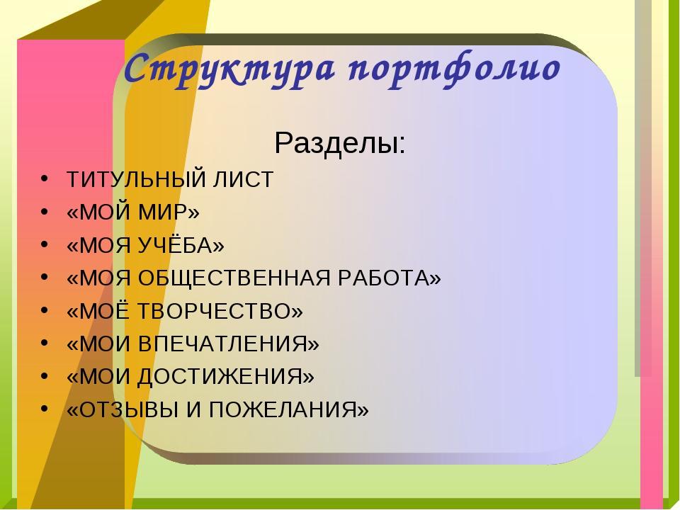 Структура портфолио Разделы: ТИТУЛЬНЫЙ ЛИСТ «МОЙ МИР» «МОЯ УЧЁБА» «МОЯ ОБЩЕСТ...