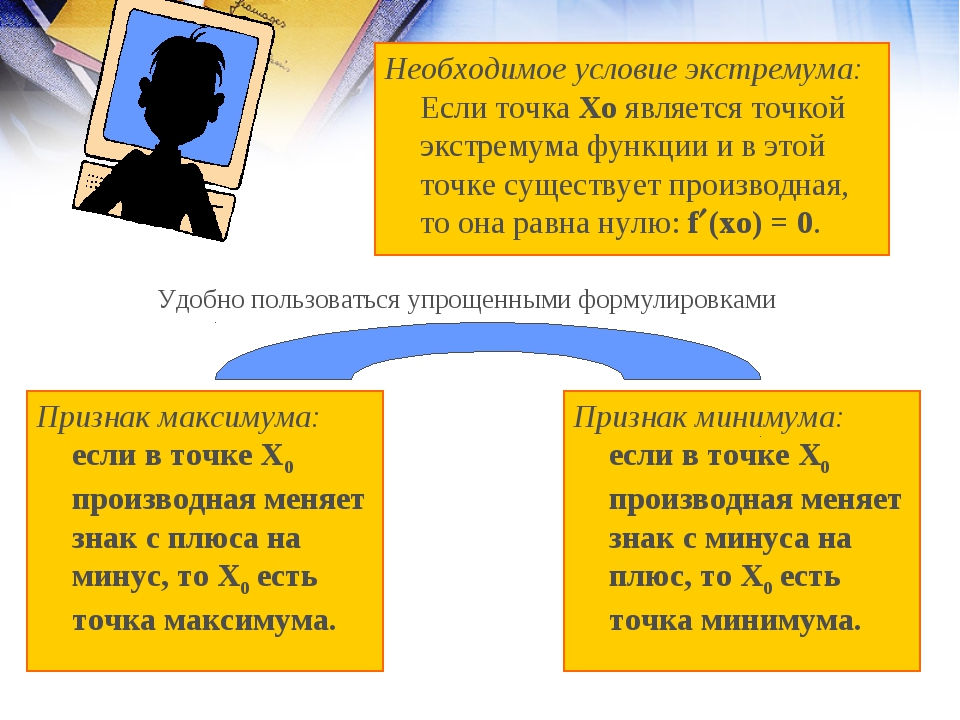 Необходимое условие экстремума: Если точка Хо является точкой экстремума функ...