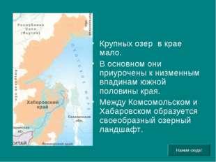 Крупных озер в крае мало. В основном они приурочены к низменным впадинам южно