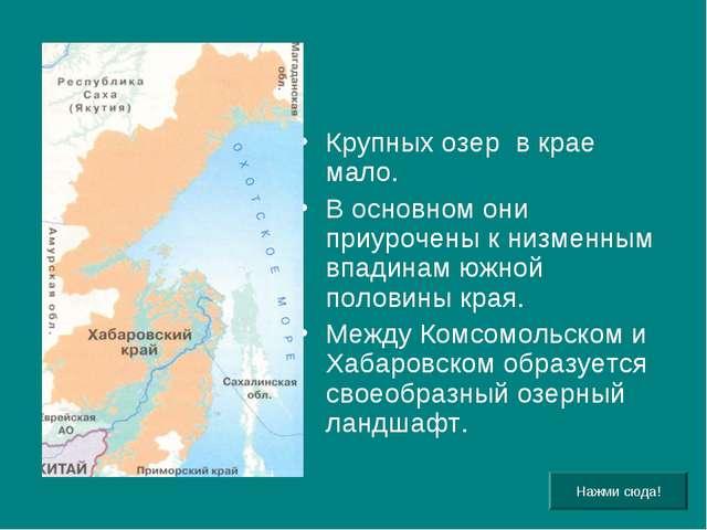 Крупных озер в крае мало. В основном они приурочены к низменным впадинам южно...