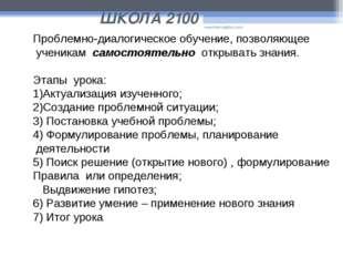 ШКОЛА 2100 www.themegallery.com Проблемно-диалогическое обучение, позволяющее