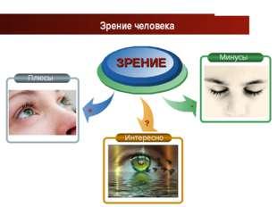 www.themegallery.com Company Logo ЗРЕНИЕ Зрение человека Плюсы Минусы Интерес