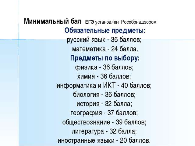 Минимальный бал ЕГЭ установлен Рособрнадзором Обязательные предметы: русский...