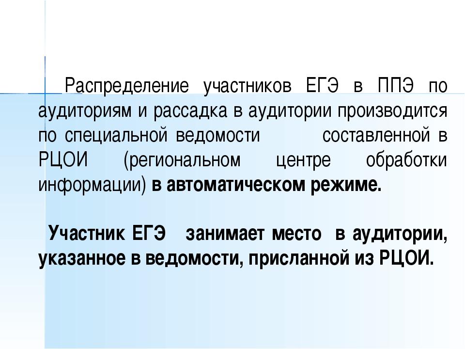 Распределение участников ЕГЭ в ППЭ по аудиториям и рассадка в аудитории прои...
