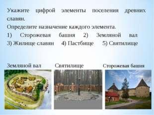 Укажите цифрой элементы поселения древних славян. Определите назначение кажд