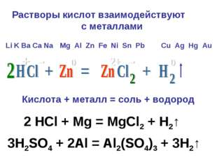 Растворы кислот взаимодействуют с металлами Li K Ba Ca Na H2 Cu Ag Hg Au Mg A