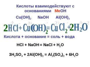 Кислоты взаимодействуют с основаниями MeOН Кислота + основание = соль + вода