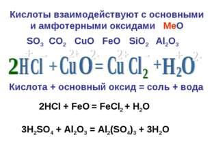 Кислоты взаимодействуют с основными и амфотерными оксидами MeO Кислота + осно