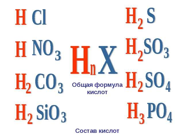 Состав кислот Общая формула кислот