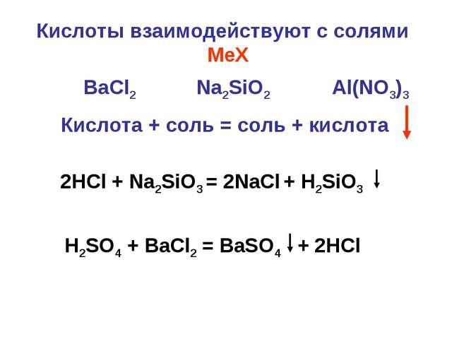 Кислоты взаимодействуют с солями MeХ Кислота + соль = соль + кислота BaCl2 Na...