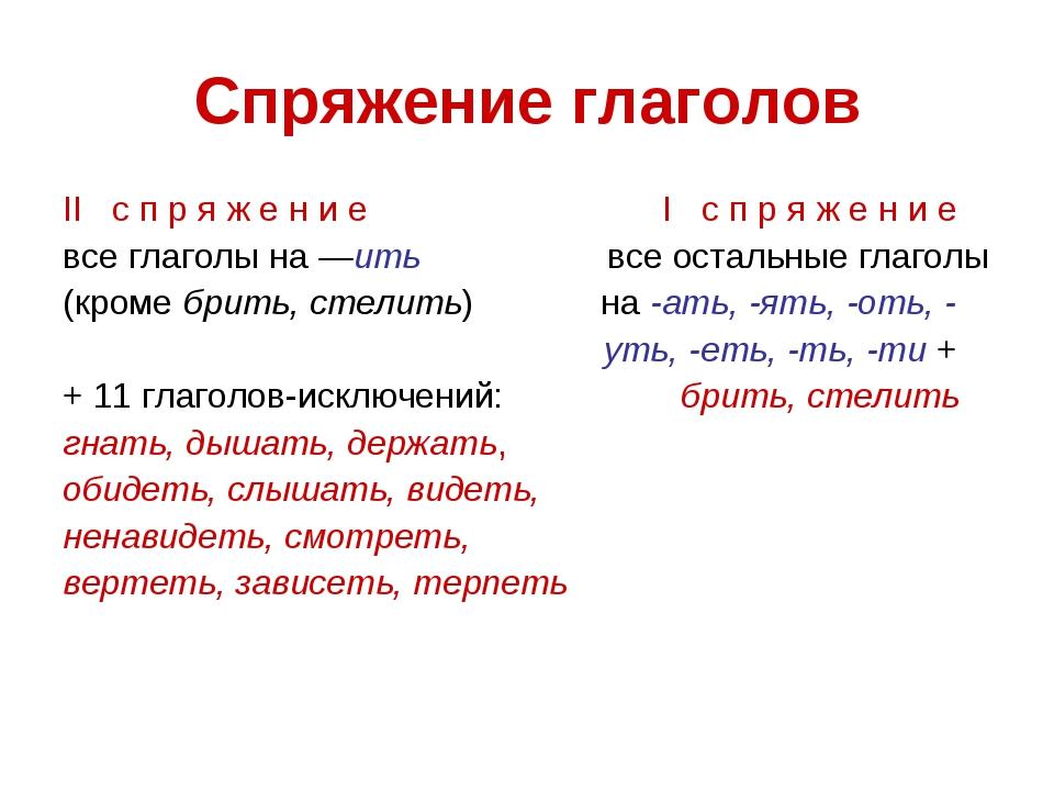 Спряжение глаголов II с п р я ж е н и е I с п р я ж е н и е все глаголы на —и...