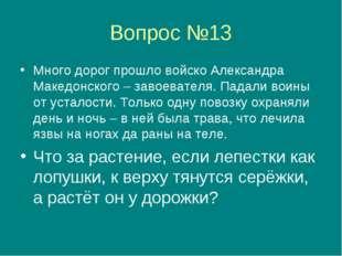 Вопрос №13 Много дорог прошло войско Александра Македонского – завоевателя. П