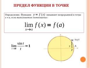 Р ПРЕДЕЛ ФУНКЦИИ В ТОЧКЕ Определение. Функцию называют непрерывной в точке х