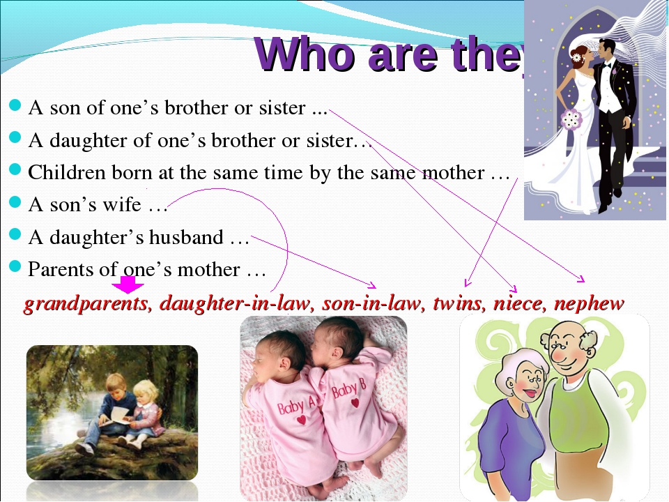 Who are they? A son of one's brother or sister ... A daughter of one's broth...