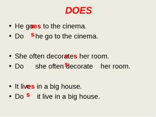 DOES He goes to the cinema. Do he go to the cinema. She often decorates her r