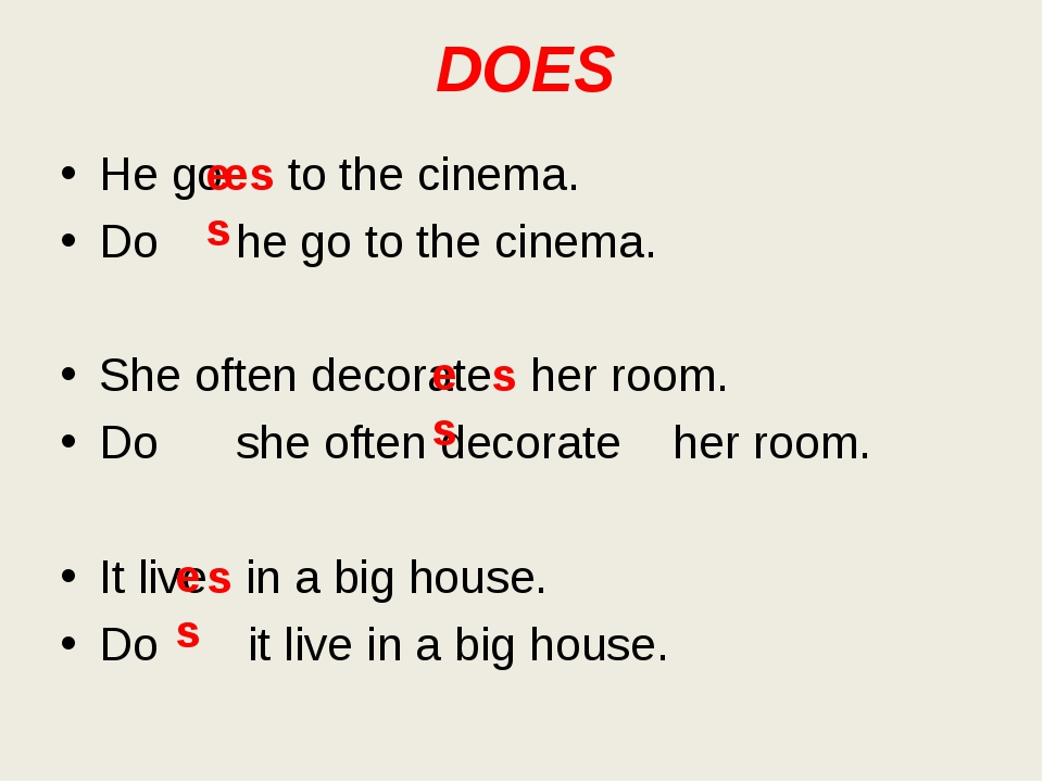 DOES He goes to the cinema. Do he go to the cinema. She often decorates her r...