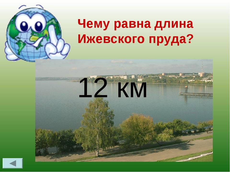 Чему равна длина Ижевского пруда? 12 км