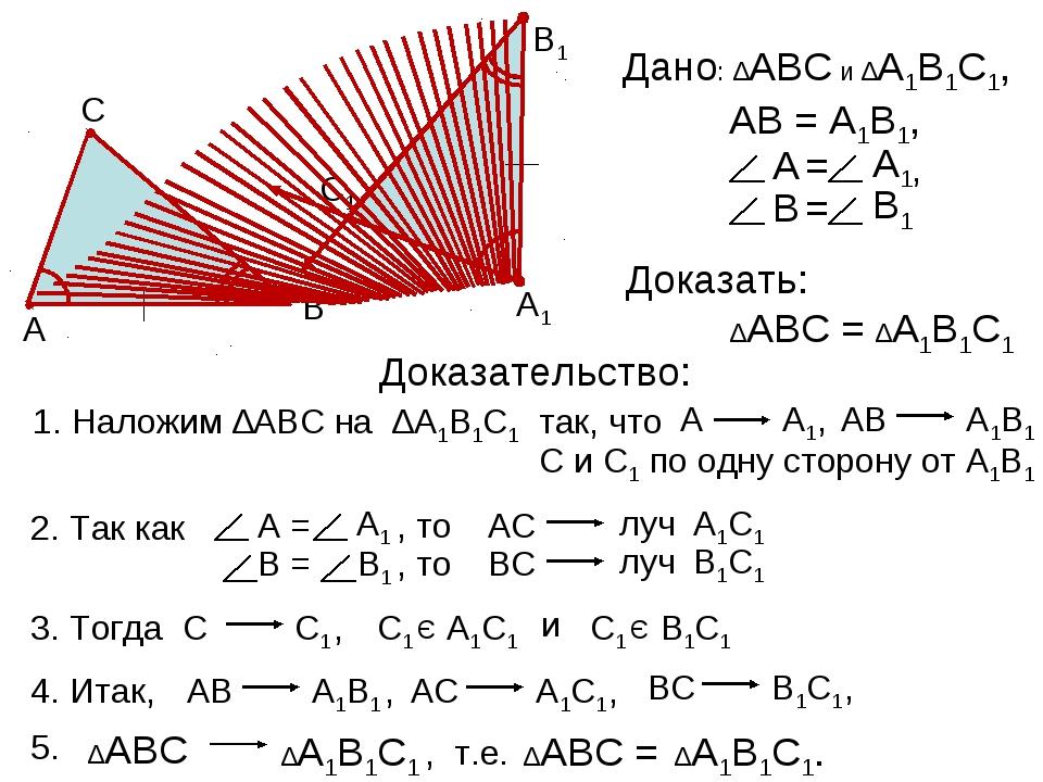 А В С С1 В1 А1 Дано: Доказать: ∆АВС = ∆А1В1С1 Доказательство: Наложим ∆АВС н...