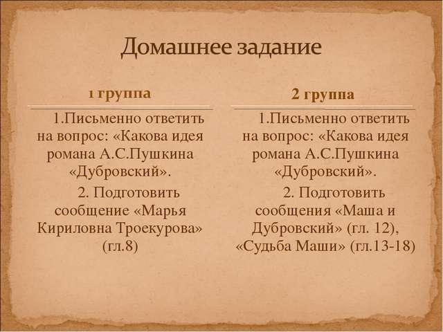 1.Письменно ответить на вопрос: «Какова идея романа А.С.Пушкина «Дубровский»....