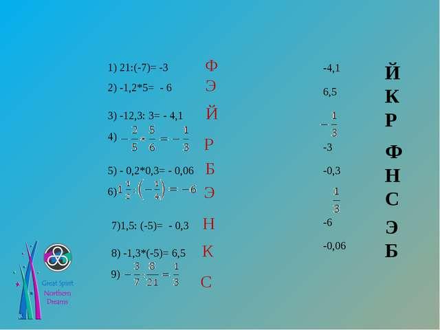 1) 21:(-7)= -3 Ф 2) -1,2*5= - 6 Э 3) -12,3: 3= - 4,1 Й 4) 5) - 0,2*0,3= - 0,0...