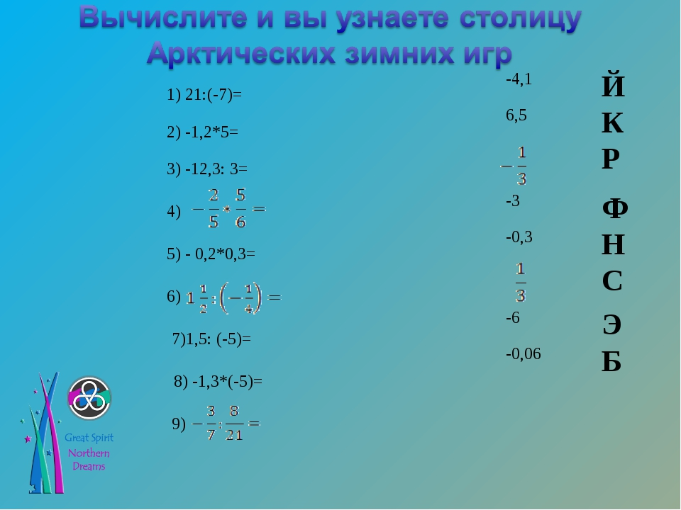 1) 21:(-7)= 2) -1,2*5= 3) -12,3: 3= 4) 5) - 0,2*0,3= 6) 7)1,5: (-5)= 8) -1,3*...