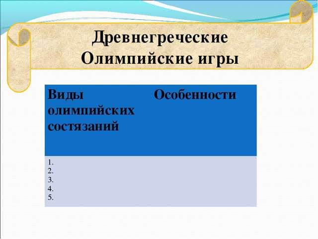 Древнегреческие Олимпийские игры Виды олимпийских состязаний Особенности 1....