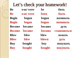Let's check your homework! Be was/ were be бить Be was/ were been быть Begin