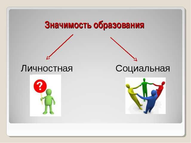 Значимость образования Личностная Социальная