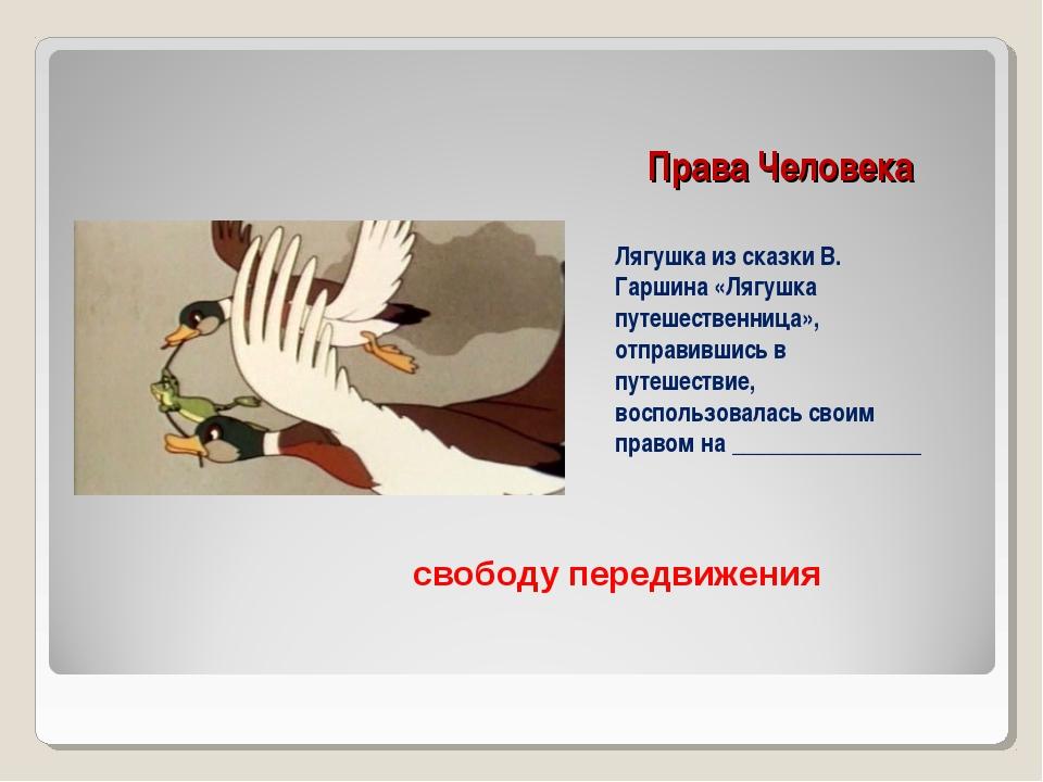 Права Человека Лягушка из сказки В. Гаршина «Лягушка путешественница», отправ...