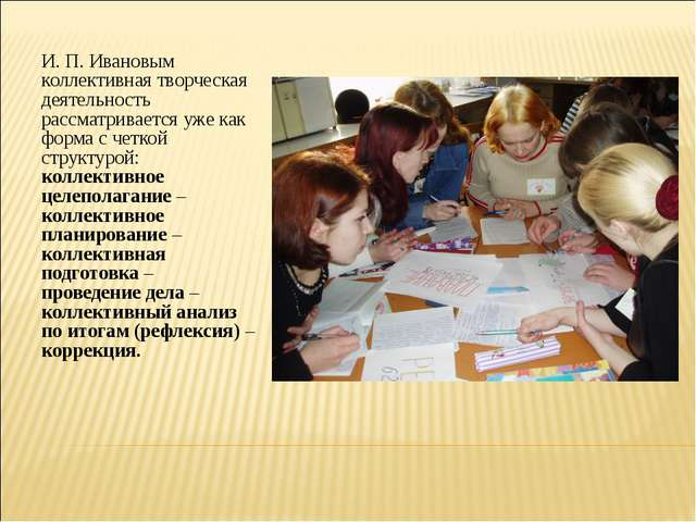 И. П. Ивановым коллективная творческая деятельность рассматривается уже как ф...