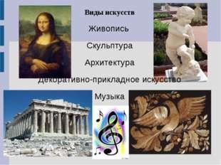 Виды искусств Живопись Скульптура Архитектура Декоративно-прикладное искусств
