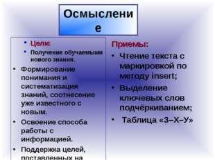 Осмысление Цели: Получение обучаемыми нового знания. Формирование понимания и