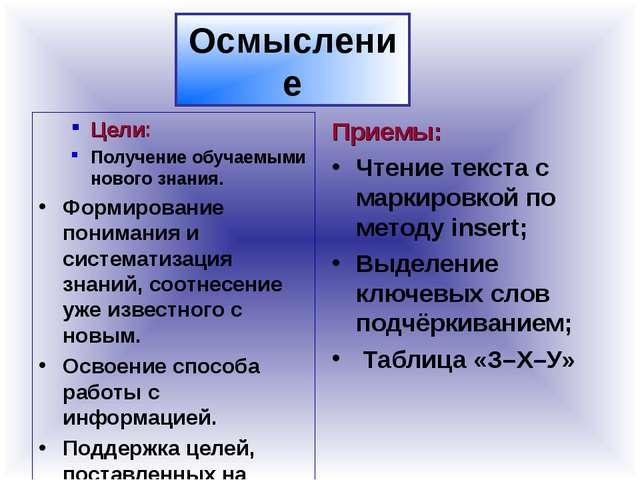Осмысление Цели: Получение обучаемыми нового знания. Формирование понимания и...