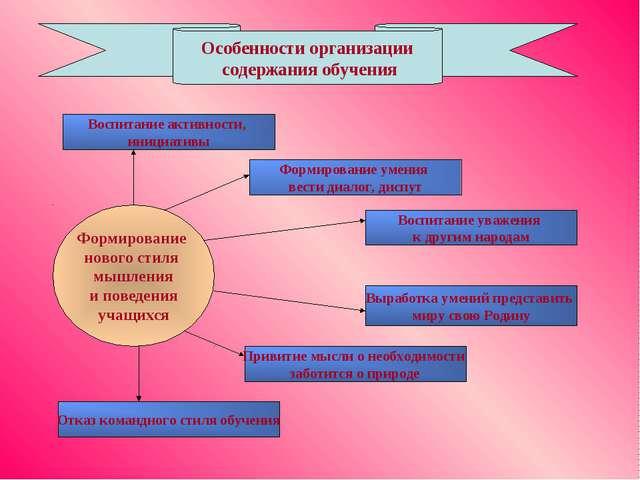 Особенности организации содержания обучения Воспитание активности, инициативы...
