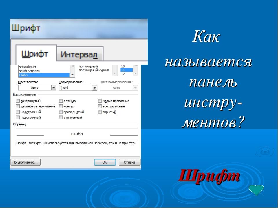 Шрифт Как называется панель инстру-ментов?
