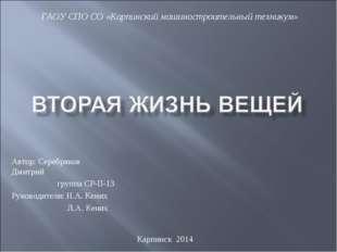 Автор: Серебряков Дмитрий группа СР-П-13 Руководители: Н.А. Кених Л.А. Кених