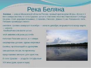 Река Беляна  Беляна — река в Московской области России, правый приток реки И