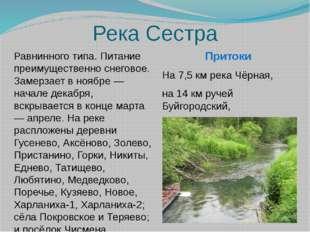 Река Сестра Притоки На 7,5 км река Чёрная, на 14 км ручей Буйгородский,