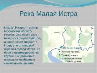 Река Малая Истра Ма́лая И́стра — река в Московской области России. Она берет
