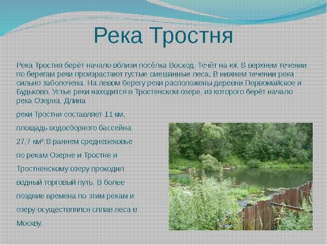 Река Тростня Река Тростня берёт начало вблизи посёлка Восход. Течёт на юг. В...