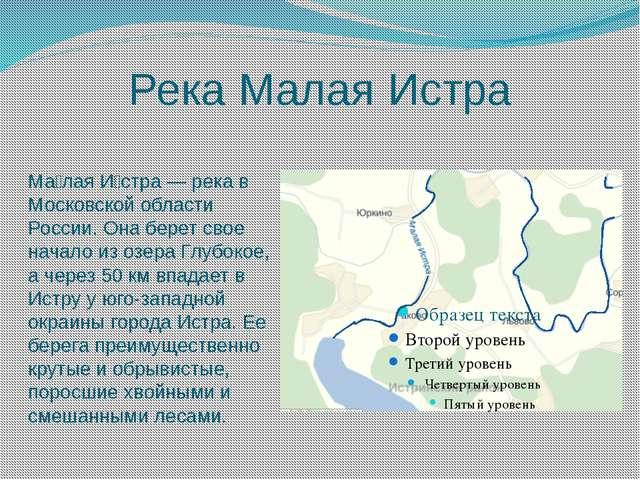 Река Малая Истра Ма́лая И́стра — река в Московской области России. Она берет...