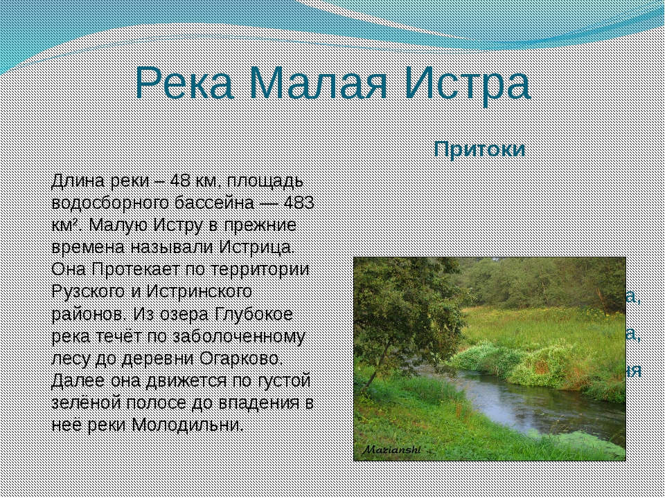 Река Малая Истра Притоки