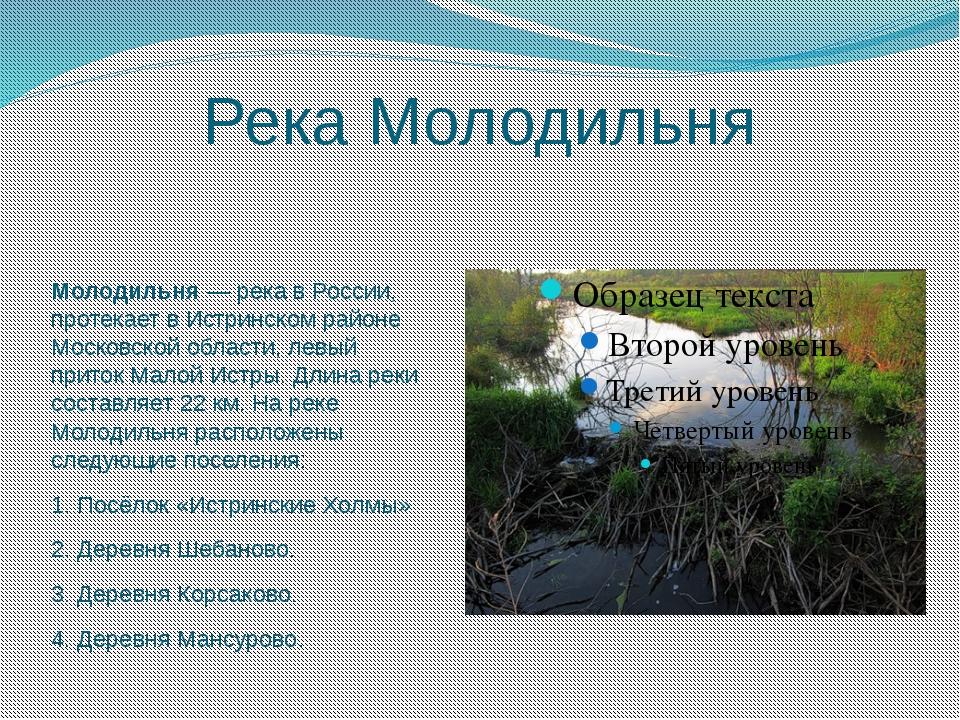 Река Молодильня Молодильня— река в России, протекает в Истринском райо...